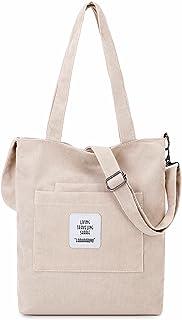 Makukke Umhängetasche Damen - Cord Schultertasche Damen Handtasche, Shopper Damen Henkeltasche für Büro Schule Einkauf Reise