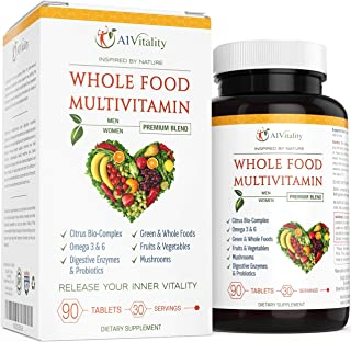 Whole Food Multivitamin for Women and Men - Natural Wholefood Blend of Vitamins, Minerals, Digestive Enzymes, Probiotics, ...