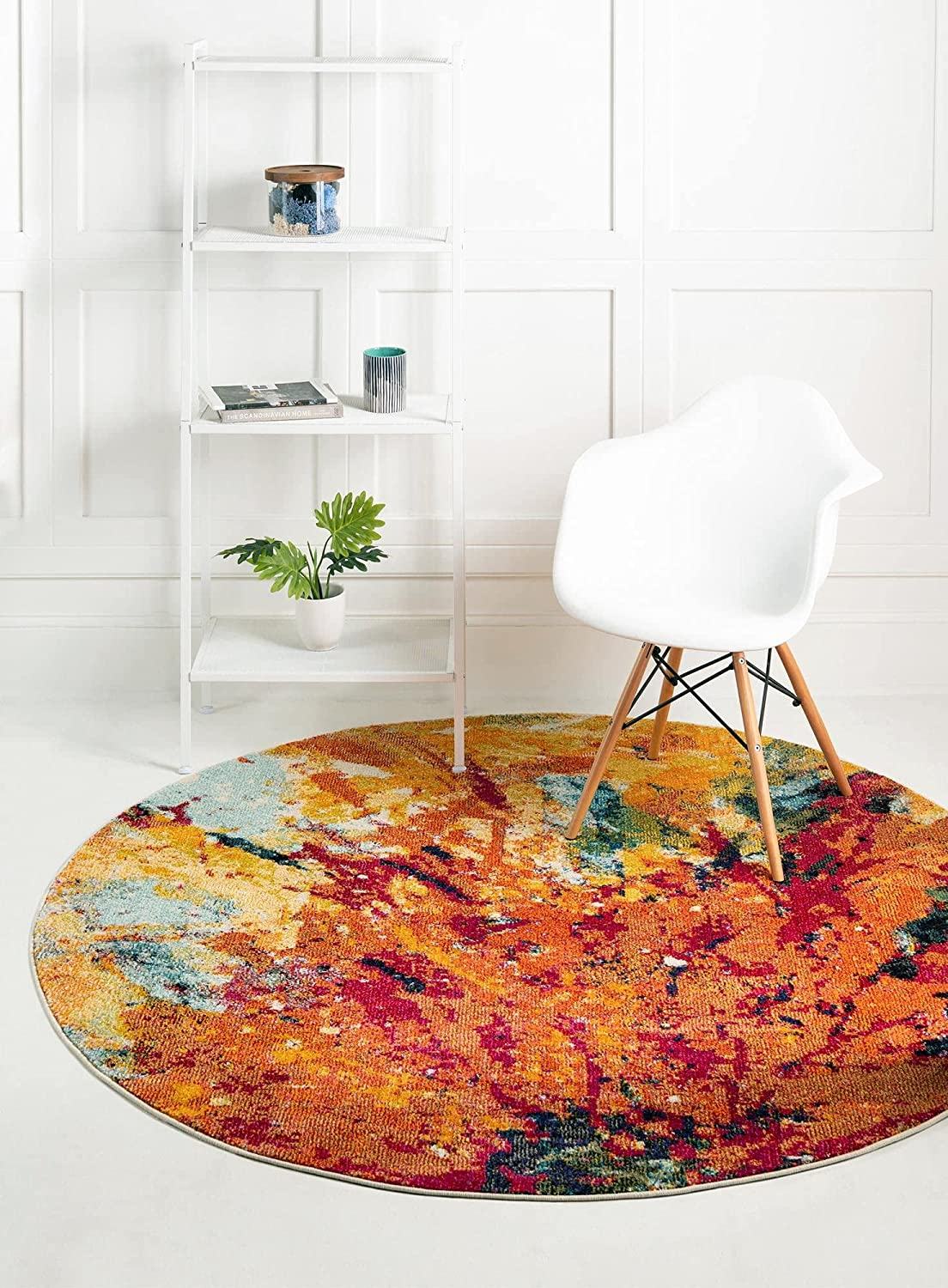 Unique Max 89% OFF Loom Estrella Collection Colorful F Abstract Rug Round New York Mall 6