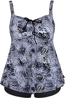 Hilor Women's Two Pieces Swimwear Halter Tankinis Flyaway Swimsuit with Draswstring