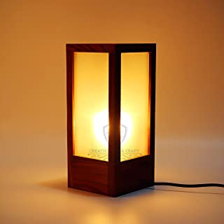 Creation India Craft Modern Frosted Glass Wooden Table Lamps For Living Rooms Table Lamps for Bedrooms Lamp For Kids Room ...