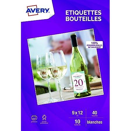 AVERY - Pochette de 40 étiquettes autocollantes pour bouteille, Personnalisables et imprimables, Format 120 x 90 mm, Impression jet d'encre,