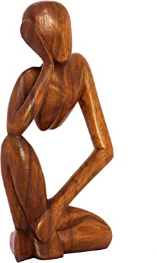 """G6 COLLECTION 12"""" Wooden Handmade Abstract Sculpture Statue Handcrafted - Thinking Man - Gift Art Decorative Home Decor F"""