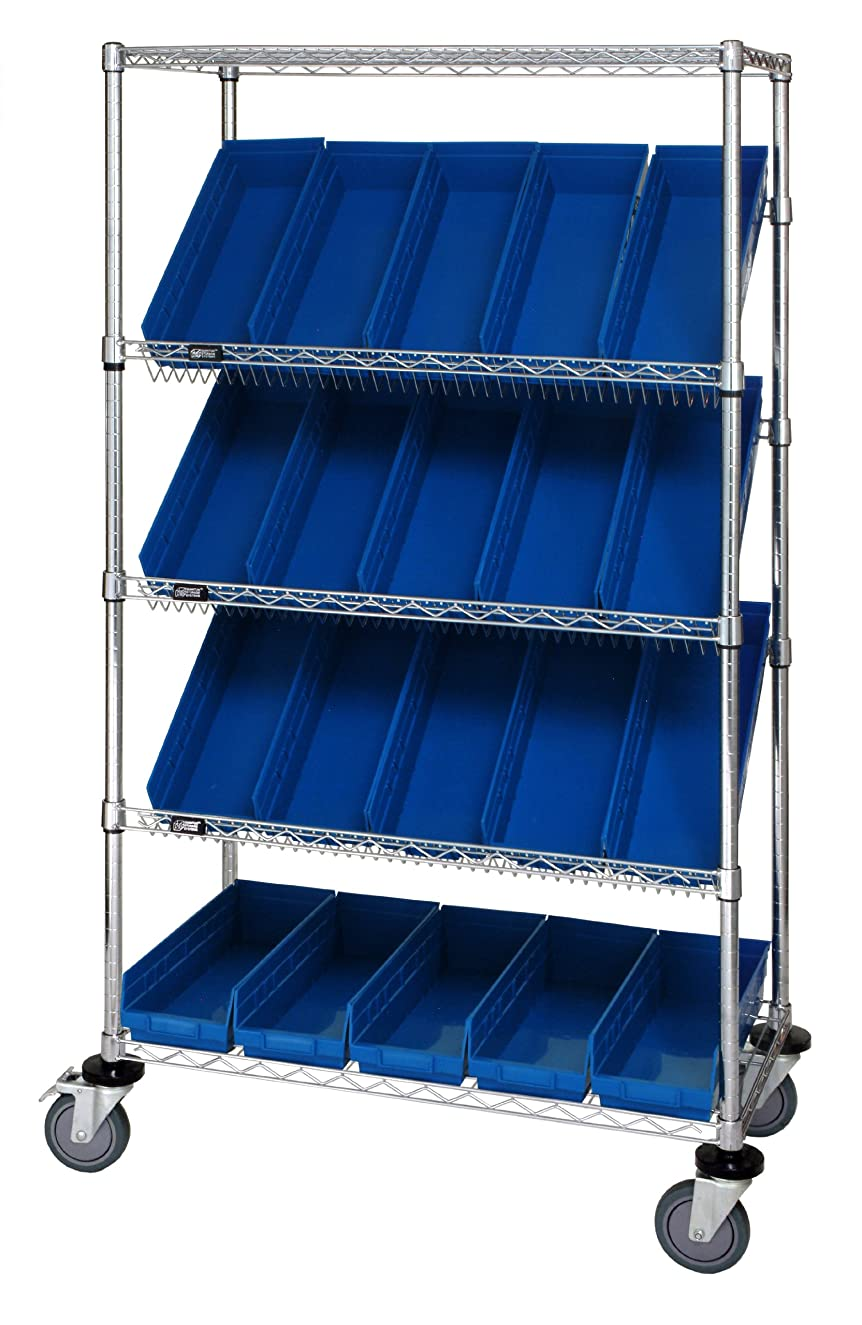Quantum Storage Systems WRCSL5-63-2436-106BL 5-Tier Slanted Wire Shelving Suture Cart with 20 QSB106 Blue Economy Shelf Bins, 2 Horizontal and 3 Slanted Shelves, Chrome Finish, 69
