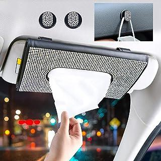 WARMQ Car Visor Tissue Holder with 2 Glitter Mask Hooks, Sparkling Tissue Box Holder for Car, Bling Car Accessories for Women (Multicolor)