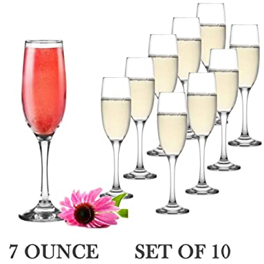 Set of 10 Classic Flute Champagne Glasses (7 Ounce) - Toasting Sparkling Wine/Wedding Flutes