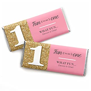 Custom Fun to be One - 1st Birthday Girl - Personalized First Birthday Party Favors Candy Bar Wrappers - Set of 24