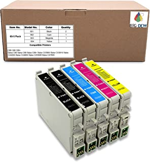 Big Dew Remanufactured Ink Cartridge Replacement for Epson 60 T060 Ink Cartridge Use for Stylus C68 C88 C88+ CX3800 CX3810 CX4200 CX4800 CX5800f CX7800 (2B, 1C, 1M, 1Y, 5-Pack)