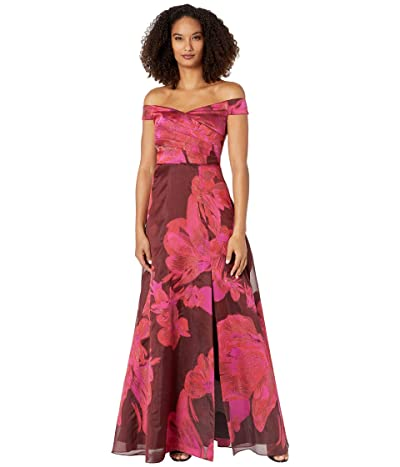 Adrianna Papell Off-the-Shoulder Organza Gown (Red Multi) Women