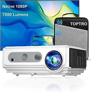 Proiettore WiFi TOPTRO con Custodia, Proiettore Bluetooth 7500 Lumen 1080P Nativo, Supporto 4K / Zoom, Proiettore Home The...