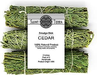 Saint Terra - Cedar Smudge Stick 4 Inches; Pack of 3