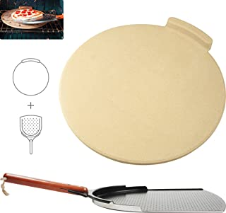 """The Ultimate Pizza Making Kit - Classic 16"""" Round Pizza Stone and 14"""" Pizza Peel 
