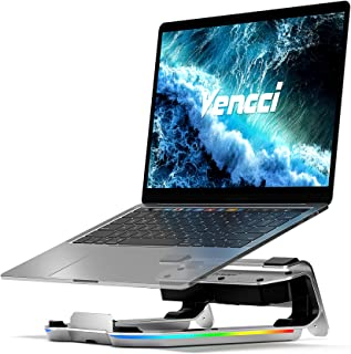 Vencci Laptop Stand for Desk,Ergonomic Aluminum Computer Laptop Riser Holder,with 8-in-1 USB C Hub | RGB Light | Adjustable Height,Compatible with MacBook Pro Air HP XPS and More Type C Devices