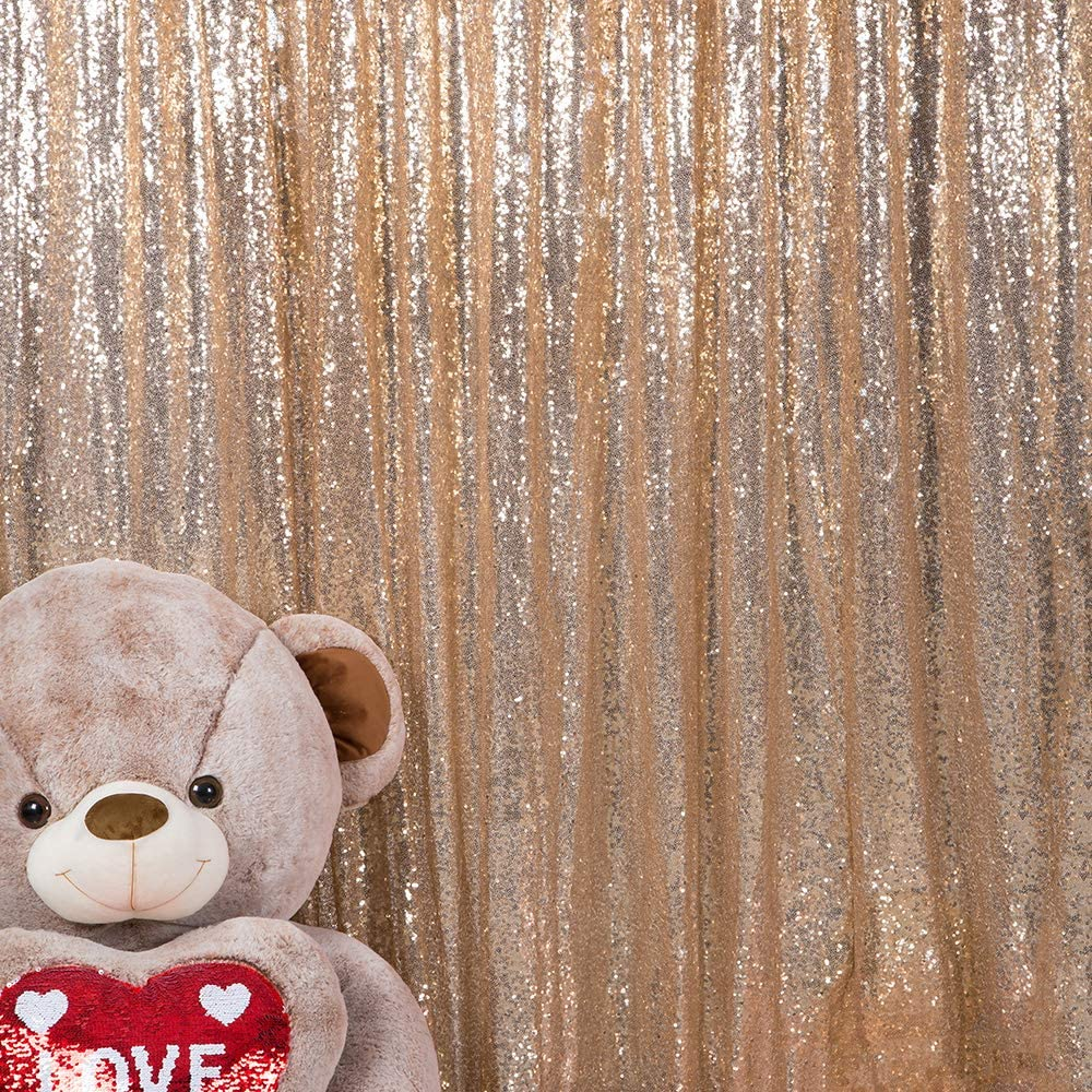 JYFLZQ Gold Sequin Backdrop Curtain 4FTx8FT 2 Panels Sparkly Photography Background Drapes Glitter Photo Booth Backdrops for Birthday Wedding Party