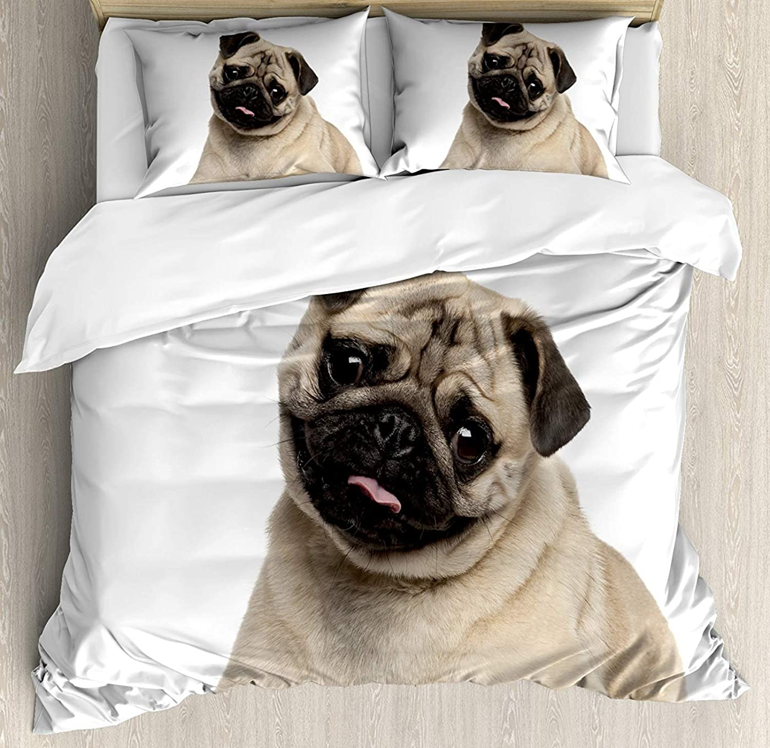Pug Bedding Set Twin Size, Nine Months Old Pug Puppy Lying Around Cute Pet Funny Animal Domestication Print,Comforter Cover Sets for All Season, Pale Brown Black