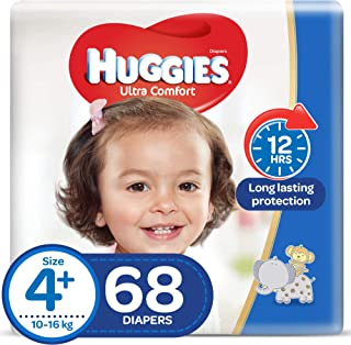 Huggies Ultra Comfort Diapers, Size 4+, 10-16 kg, Value Pack, 68 Count (KC715)