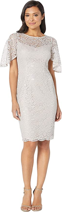 Lace Cocktail Dress with Flounce Sleeve