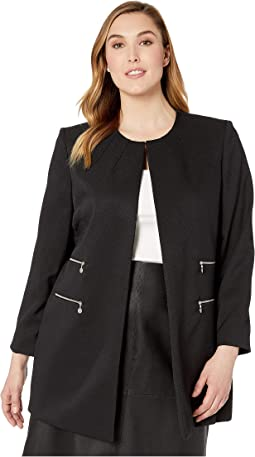 Plus Size Twill Topper Long Sleeve Jacket w/ Zipper Hardware