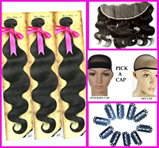 All in One Super Value: Clear or HD Lace Frontal Body Wave w/Three Bundles (18