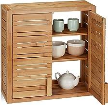 Relaxdays, Naturalna szafka ścienna z bambusa, 2 drzwi, półki o regulowanej wysokości, kwadratowa szafka wisząca, wys. x s...