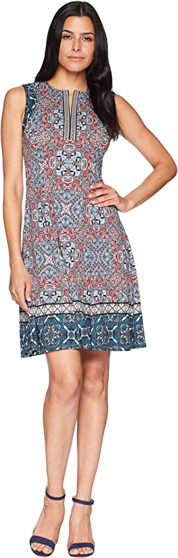Carpet Medallion Printed Scuba Fit and Flare