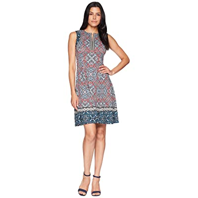 Maggy London Carpet Medallion Printed Scuba Fit and Flare (Soft White/Red) Women