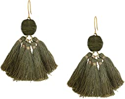 Raffia Pom Pom Earrings with Dip-Dye Tassels