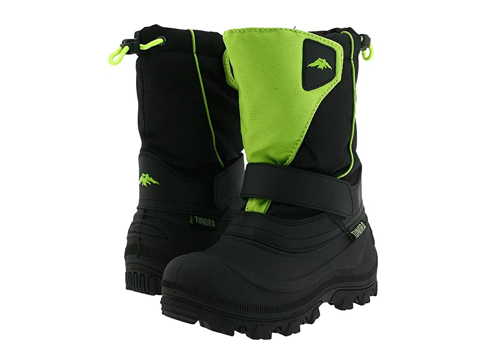 Tundra Boots Kids Quebec Wide (Toddler/Little Kid/Big Kid) (Black/Lime Green) Boys Shoes