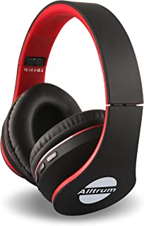 Alltrum Over-Ear Headphones,Hi-Fi Stereo Headset,Adjustable Headsets for Traveling/Sports/Relaxation,Foldable Headphones with Microphone and Music Playback for Most of Smartphones - red-with-Black