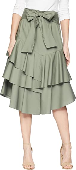 Vince Camuto Tiered Ruffle Belted Poplin Skirt