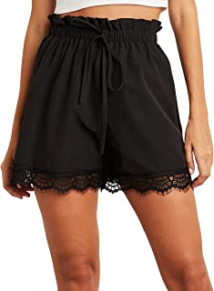 Lace Detail Flippy Shorts with Drawstring For Women Closet by Styli