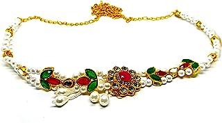 White Beads Waist Hip Belt Oval Shape Studded Stone Traditional Kamarband for Women/Girls