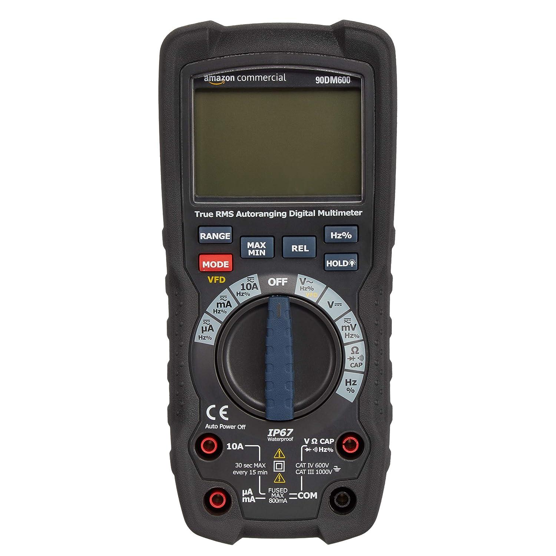AmazonCommercial - Multímetro digital, compacto, cuenta hasta 6000, IP67, valor eficaz RMS, CAT IV de 600 V
