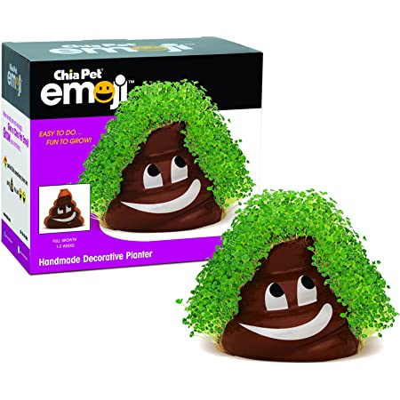 Chia Poppy Pet Emoji Poopy with Seed Pack, Decorative Pottery Planter Easy to Do and Fun to Grow, Novelty Gift, Perfect for Any Occasion