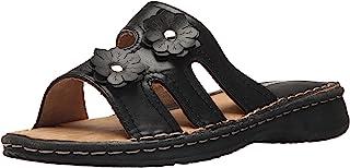 صنادل AdTec للنساء، تصميم مريح مفتوح عند أصابع القدم سهل الارتداء، مخيط يدويًا بنعل مطاطي في أي مناسبة، أسود