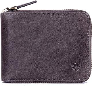 RFID Men's Leather Zipper wallet Zip Around Wallet Bifold Multi Card Holder Purse - Grey - 4.92 x 3.94 x 0.98 inches