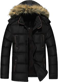 Men Puffer Coat Windproof Quilted Jacket with Removable Fur Hood