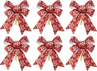 iPEGTOP 6 Pcs Christmas Bows Holiday Ribbons, Shiny Glitter Red Plastic Bows with Snowflakes Pattern for Festive Holiday Ornaments Christmas Trees, Wreaths and Gifts Use Indoor/Outdoor Decoration