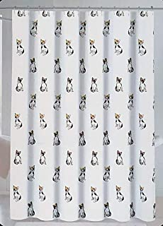 Cynthia Rowley Fabric Shower Curtain Black and White Sitting Dogs Puppies with Red Yellow Floral Hats - Pupchelle
