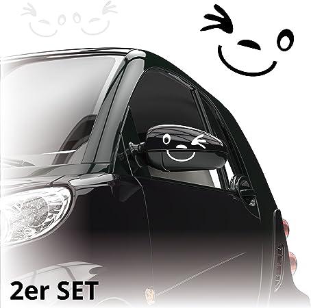 Gesicht Autoaufkleber 2er Set Aufkleber Für Auto Spiegel Außenspiegel Smile Kb801 Auto