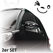 Gesicht Autoaufkleber *** 2er Set *** Aufkleber f/ür Auto Spiegel Au/ßenspiegel Smile A00076