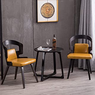 YEEFY Dining Chairs Yellow Bent Wood Living Room Chairs Fabric Accent Chair, Set of 2(Yellow)