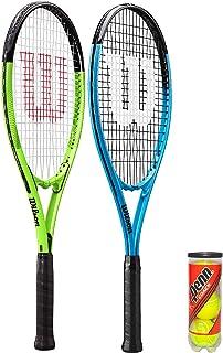 2 x Wilson XL Tennis Rackets (Blue & Green) & 3 Tennis Balls