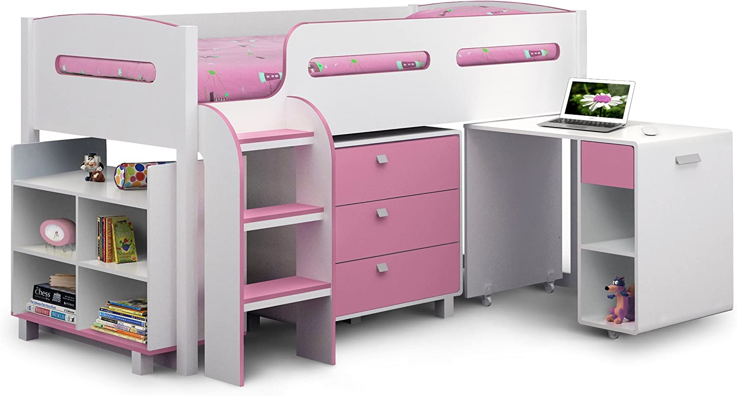 Julian Bowen Kimbo Girls Cabin Bed  Single, White Soft Pink
