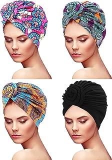 6 Pi/èces Chapeau Turban Nou/é Femme Bandeau /à Motif Africain Bonnet Pr/é-Nou/é