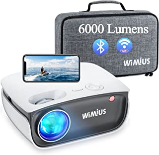 Proyector WiFi Bluetooth, WiMiUS 6000 Lúmenes Proyector WiFi Bluetooth Soporta 1080P Full HD, Mini Proyector Cine en Casa ...
