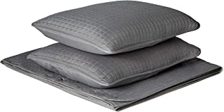 Solid Quilt Set ,Gray Color, Soft Lightweight Microfiber, Quilted Bed cover ,Reversible Minimalist Quilting, Pattern Stitched , Twin f q Full Queen King Size (86 inch by 86 , 2 shams 20 x26)