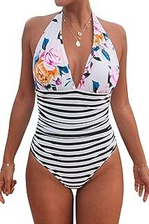 Women's Stripe Halter One-Piece Swimsuit Keeping You Accompained Swimwear
