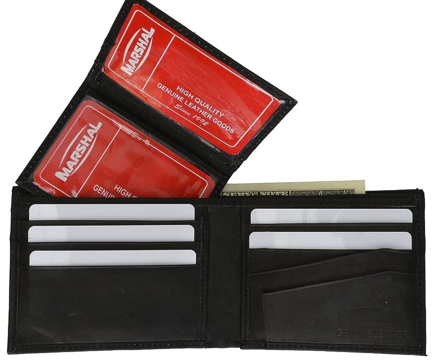 パドル男らしい順応性Marshal財布メンズレザー二つ折り財布取り外し可能なフリップアップIDウィンドウ?–?複数の色の選択肢