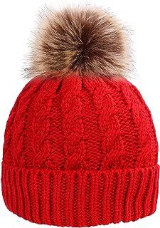 Beanie - Men/Women Knit Slouchy Ski Hat with Big Size Faux Fur Pompom